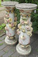 Large Pair of Ceramic Ornate Pillar Stands